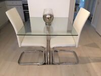 Small Glass Dining Table and 2 Off White Chairs £100