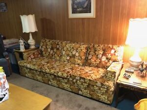 Vintage Couch Chair & Ottoman