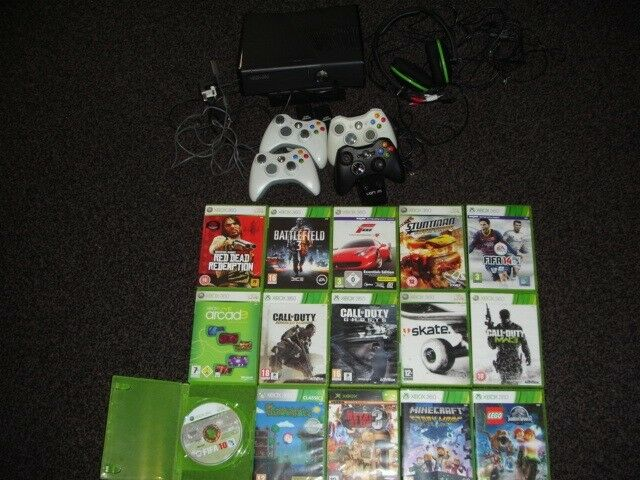 XBOX 360 S CONSOLE TURTLE BEACH HEAD SET 21 GAMES DOCKING STATION