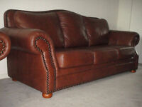High End Brown 100% Leather Sofa &Loveseat, 99% new, Can deliver