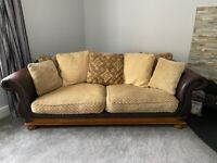 3 Seater Leather and fabric sofa x 2 and footstool
