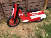 Kiddimoto red and white moped style balance bike