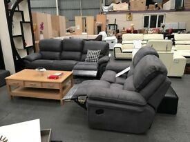 GOOLE & HULL SAME DAY SUITES - BRAND NEW - GREY FABRIC RECLINER SUITE - LOOK NOW