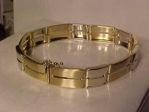 "#3210-2 TONE (WHITE & YELLOW)14K *NEW* BRACELET-7 1/4"" LONG SAFETY *8* +TONGUE & BOX CLOSURE-24.15 GRAMS OF 14K-EBANK TR"