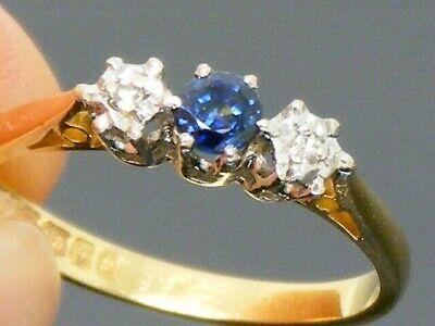 18ct Gold 18K Gold Sapphire & Diamond Vintage Ring size N