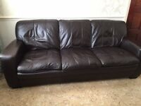 Leather sofa, 2 chairs and footstool