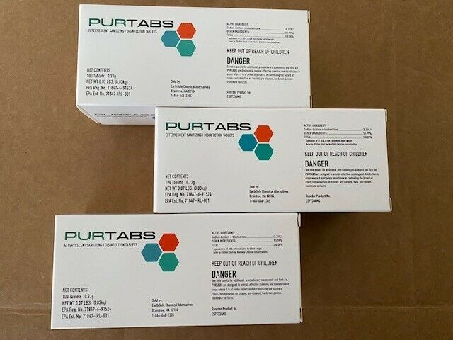 3 PACK PURTABS Hospital Grade Viral Disinfection - EPA Approved 300 TABLETS
