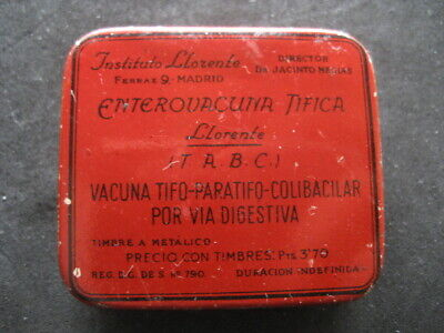 Metal Box Farmacia. Enterovacuna Tifica. Institute Llorente, Madrid