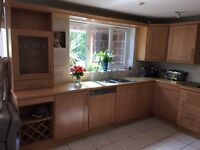 Great quality wood kitchen - all units plus gas hob and integrated dishwasher
