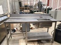 Stainless steel dirties dishwasher table and sink.