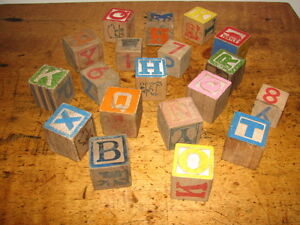 Vintage Children's Wooden Toy Blocks, Coloured, Printed Letters