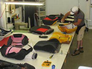 Rembourrage cuir vinyl, auto,bateau,moto,moto-neige,vtt