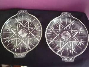 2 retro, vintage crystal serving plates Bedford Bayswater Area Preview