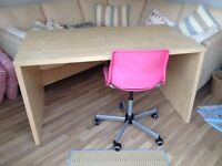 IKEA desk and pink chair