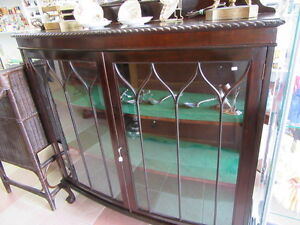 Antique Bow Front Display Cabinet, Solid Mahogany