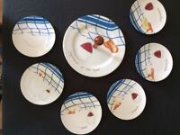 French Porcelain Cheese plates & server