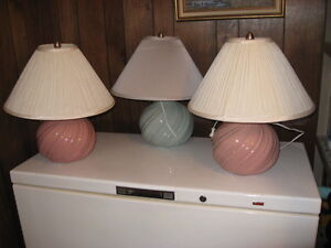 ThreeTable Lamps- 2 lite pink and 1 tuquoise. They are trilight