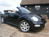 54 VOLKSWAGEN BEETLE 2.0 AUTOMATIC CONVERTIBLE 78K FSH BLACK/SAND LEATHER SUPERB