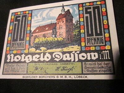 Schöner Notgeld Schein 50 Pfennig Stadt Dassow i. M. gültig bis 1. Juli 1922