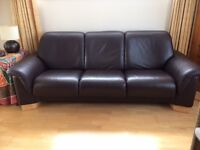 Ekornes Stressless 3 seater leather sofa in excellent condition
