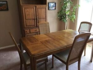 Oak Dining Table And Matching Hutch