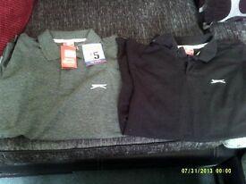 2 Slazenger polo shirts grey 1 brand new with tag still on & black 1 worn once size medium