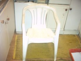 Selection of White Hard Plastic Garden chairs