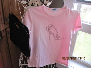 BALENO Pink Tee T Shirt with Sequenced High Heel Shoe