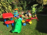 Large collection childrens toys incl. Little Tikes Playhouse, SmarTrike, motorised car, Skipper bike