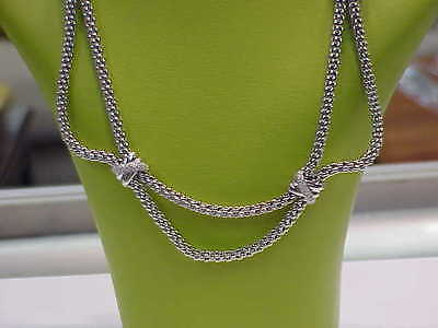 FOPE ITALIAN DESIGNER 18K WHITE GOLD DIAMOND DOUBLE STRAND NECKLACE 16.5""