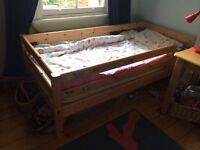 IKEA wooden high sleeper bed with desk