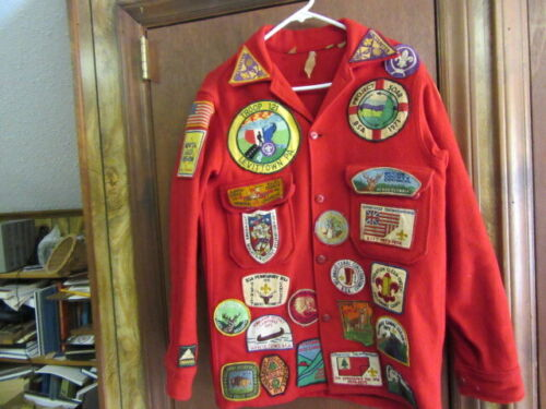 Boy Scout Red Wool Jacket Full of Patches -- OA, Camp, National Issue, Etc. cov5
