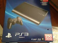PS3 250Gig, 2 controllers, HDMI plus all cables, 1 game OBO