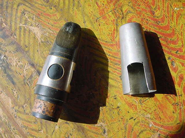 VINTAGE PARIS FRANCE HARD RUBBER CLARINET MOUTHPIECE LIGATURE AND CAP
