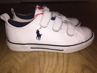 Ralph Lauren Kids White Leather Trainers - Size 1 - As new - worn only once : Cost £45