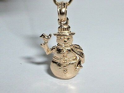 14k YELLOW GOLD 3D HOLIDAY WINTER SNOWMAN PENDANT CHARM