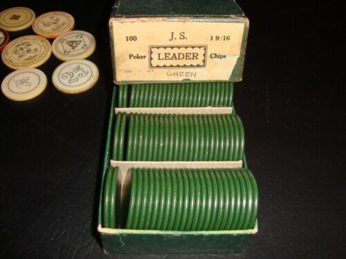 Circa 1930s Box of Green Poker Chips, J. S. Leader