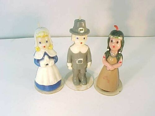 Set of 3 Vintage Gurley Thanksgiving Candles Pilgrims & Indian Maiden 5.75""