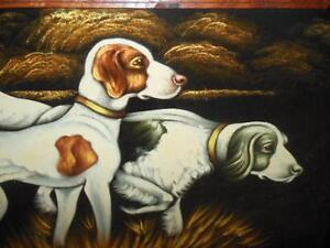 Large vintage painting of hunting dogs, with a carved wood frame London Ontario image 1