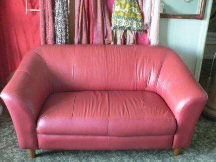 Sofa 2 x 2 seater RED leather | Sofas | Gumtree Australia Melbourne ...