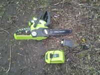 Chainsaw and charger and battery not even a year old just need chain sharperened
