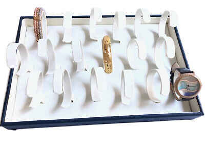 White With Blue Faux Leather Watch Bracelet Jewelry Display Holder Showcase Tray