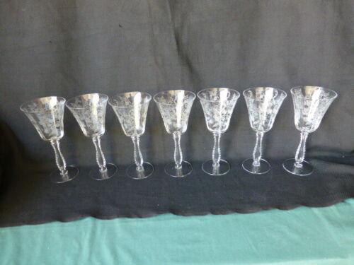 7 Vintage Elegant Glass Fostoria Heather Pattern Water Glasses