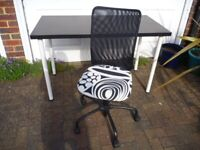 IKEA Black Desk & Office Chair As NEW