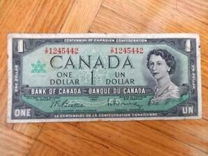 1967 Canadian Centenniel Dollar Bill CIRC Beattie Rasminsky