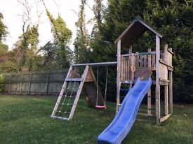 Jungle Gym with Covered Tower, Slide, Swing, Climbing Wall & Cargo Net