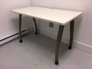 9 mobile Teknion tables for sale with adjustable legs