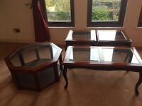 Glass topped side tables - 2 small, 1 larger and 1 octagonal shaped