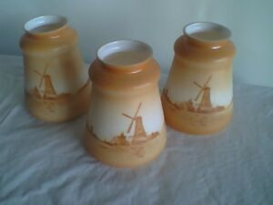 3 Antique Electric Lamp Fixture Shades Windmill Scene