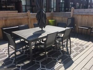 GRAPHITE OUTDOOR TABLE AND CHAIRS  SET WITH UMBRELLA